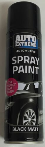 2 x Black Matt Aerosol Spray Cans 250ml Car Auto Extreme Spray Paint