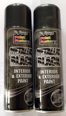 2 x Metallic Black Spray Paint Interior & Exterior Spray Aerosol Can 250ml