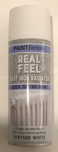 Real Feel Cast Iron Radiator Quick Dry Paint Vintage White 400ml Spray Aerosol