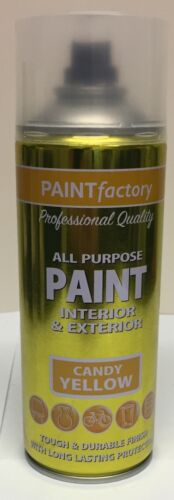 1 x All Purpose 400ml Paint Candy Yellow Interior And Exterior Spray Can