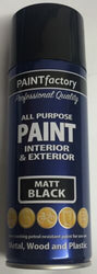 1 x 400ml All Purpose Matt Black Varnish Can Household Car Aerosol Paint