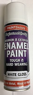 8 x Enamel White Gloss Paint Spray Aerosol 400ml Radiator Metal Wood Etc. Tough
