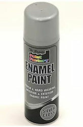 7 x Enamel Silver Gloss Paint Spray Aerosol 400ml Radiator Metal Wood Etc. Tough