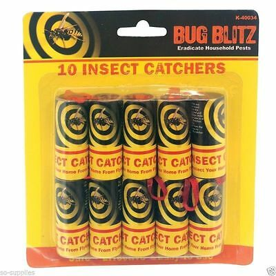 10x Sticky Fly Bug Wasp Insect - Poison Free Paper Trap Catchers Traps