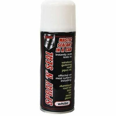 2 x Spray Mastic Instant Leak stop Spray N Seal Roofs Gutters pipes 200ml WHITE
