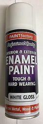 2 x Enamel White Gloss Paint Spray 400ml For All Purposes