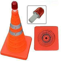 PORTABLE POP-UP ORANGE EMERGENCY SAFETY CONE WITH FLASHING LED LIGHT