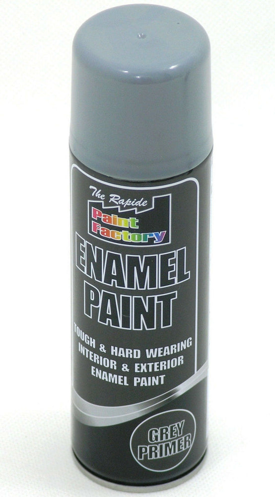 8  X Enamel Grey Primer Paint Spray Aerosol 200ml Radiator Metal Wood Etc. Tough