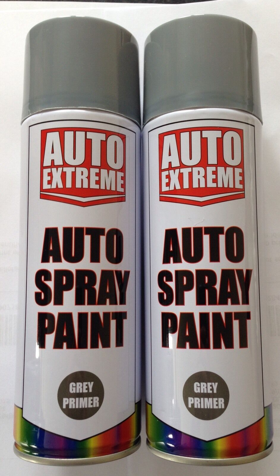 2 X Auto Spray Paint Grey Primer Spray 400ml Cars And Vans