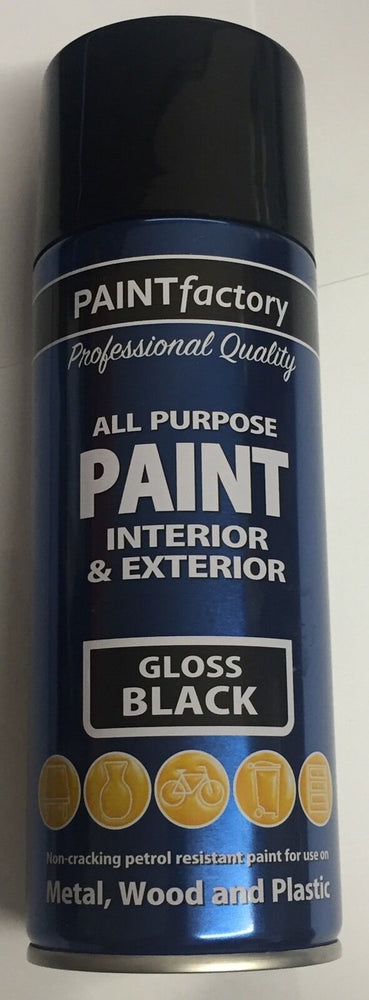 1 x 400ml All Purpose Gloss Black Varnish Can Household Car Aerosol Paint