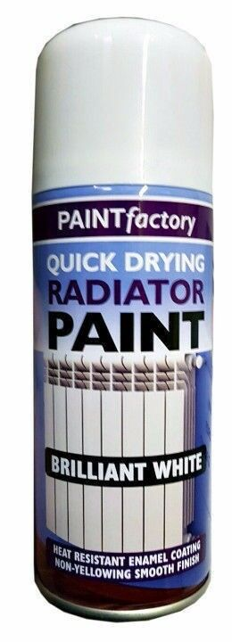 4 X NEW QUICK DRYING RADIATOR PIPE PAINT CAN ULTRA TOUGH GLOSS WHITE SPRAY 200ML