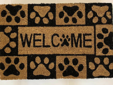 Welcome Paw Print Door Mat Coir Rubber Back Non Slip Entrance Doormat