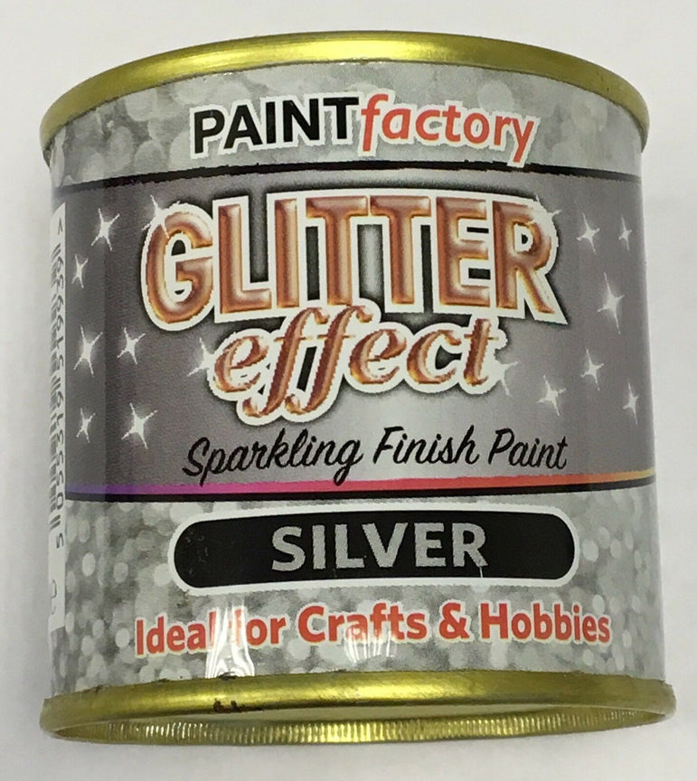 1 x Glitter Effect Silver Sparkling Finish Paint 125ml Can!! Craft And Hobbies