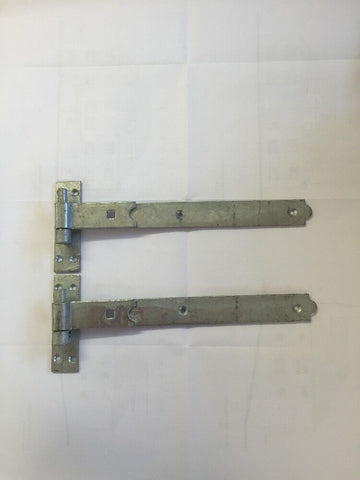"Gate Hinges Straight 350mm 14"" Pair Galvanised Heavy Duty Hook And Band Hinge"