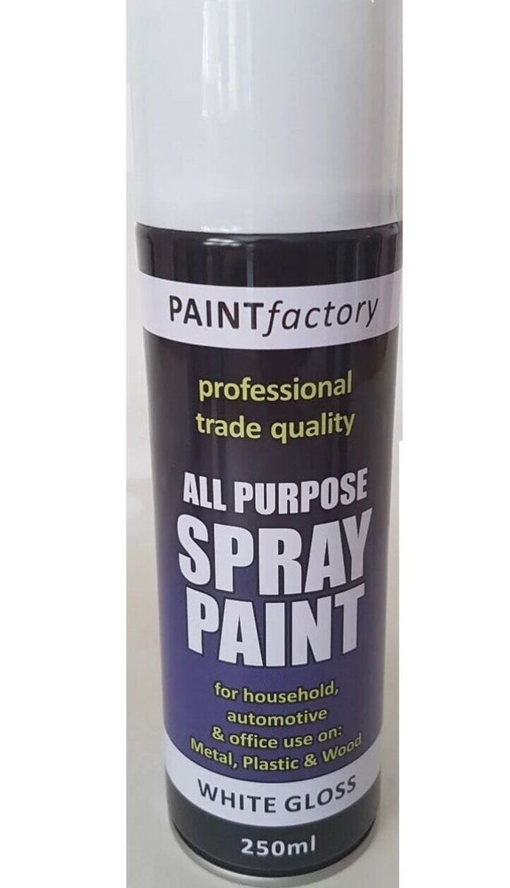2 X White Gloss Spray Paint All Purpose Metal Plastic Wood 250ml