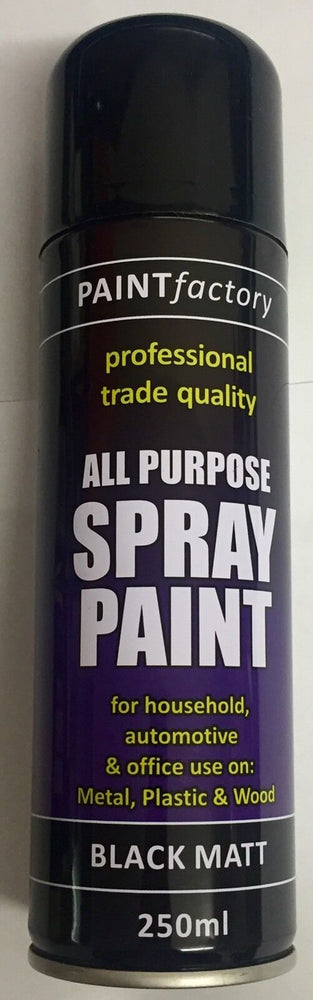 8 X All Purpose Black Matt Paint Spray Aerosol 250ml Radiator Metal Wood Tough