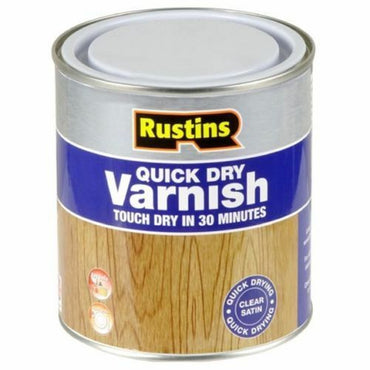 RUSTINS QUICK DRY VARNISH SATIN CLEAR 500ml INTERIOR USE