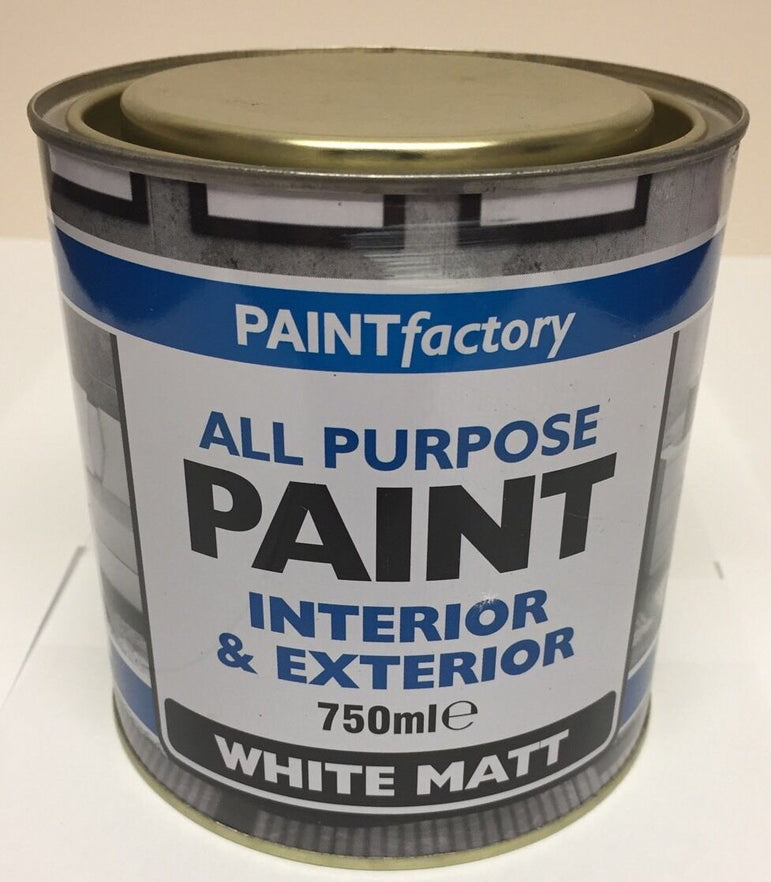 All Purpose White Matt Paint 750ml Large Can!! Interior And Exterior