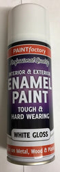 2 x Enamel White Gloss Paint Spray Aerosol 400ml Radiator Metal Wood Etc. Tough