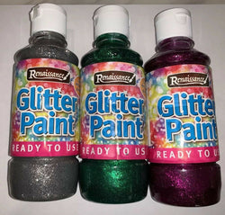 Glitter Paint Set Of 3 Various Colours 250ml Paint Squeezy Pot