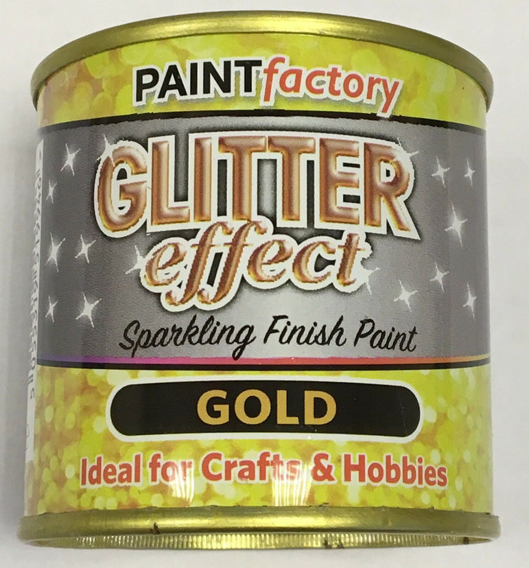 7 x Glitter Effect Gold Sparkling Finish Paint 125ml Can!! Craft And Hobbies