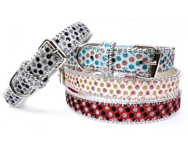 Brand New Sparkly Dog Collar Glitter Bling Bling CREAM BLUE GREY RED