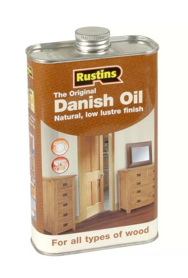 RUSTINS 1 LITRE DANISH OIL FOR WOOD GIVES A NATURAL, OPEN GRAINED, SOFT FINISH