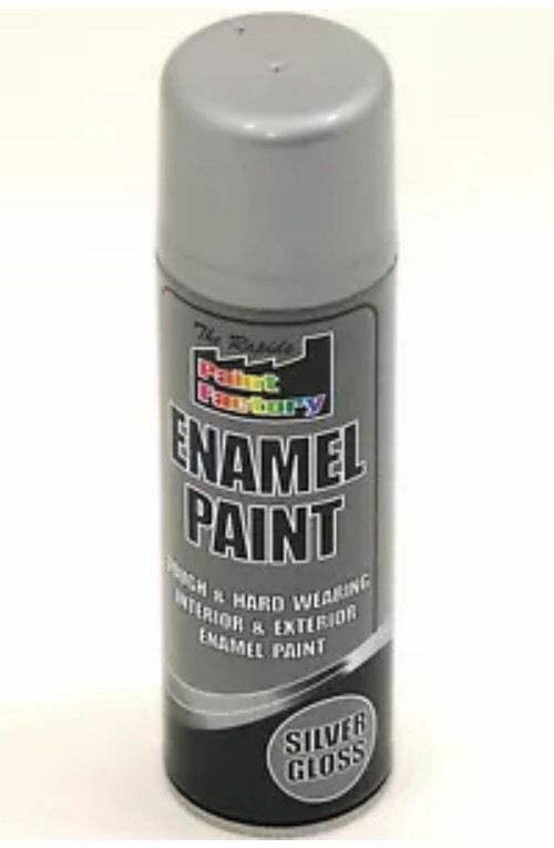8 x Enamel Silver Gloss Paint Spray Aerosol 400ml Radiator Metal Wood Etc. Tough