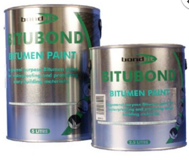 2.5Ltr Bond it Bitubond Black Bitumen waterproofing paint all weather coating