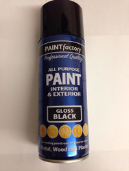 2 x 400ml All Purpose Black Gloss Spray Can Household Car Van Bike Aerosol Paint