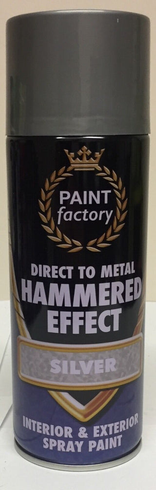 2 x Silver Hammer Effect Spray Paint Can Like Hammerite Metal Rust 400ml