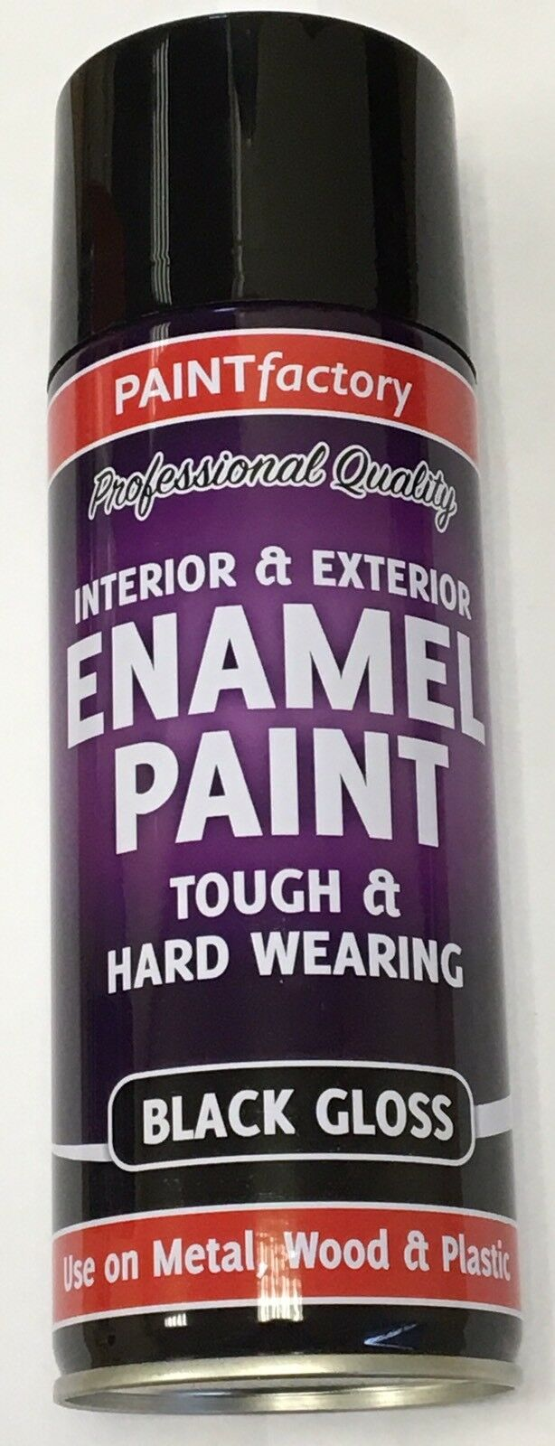 1 x Enamel Black Gloss Paint Spray Aerosol 400ml Radiator Metal Wood Etc. Tough