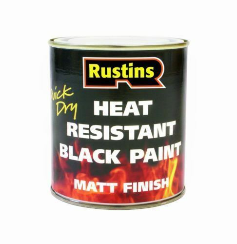 RUSTINS 250ML HEAT RESISTANT BLACK PAINT QUICK DRY FOR METAL & WOOD