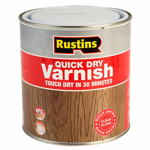 RUSTINS QUICK DRY VARNISH GLOSS CLEAR 250ml INTERIOR TOUGH DURABLE