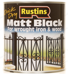Rustins Matt Black Quick Dry Paint Iron Gates & Wood Interior or Exterior 250ml