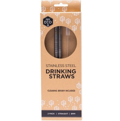 Ever Eco Stainless Steel Straws - 2pk Straight + Cleaning Brush