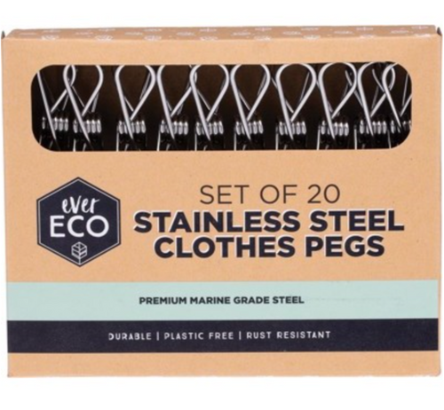 Ever Eco - 20x Stainless Steel Clothes Pegs (Premium Marine Grade)