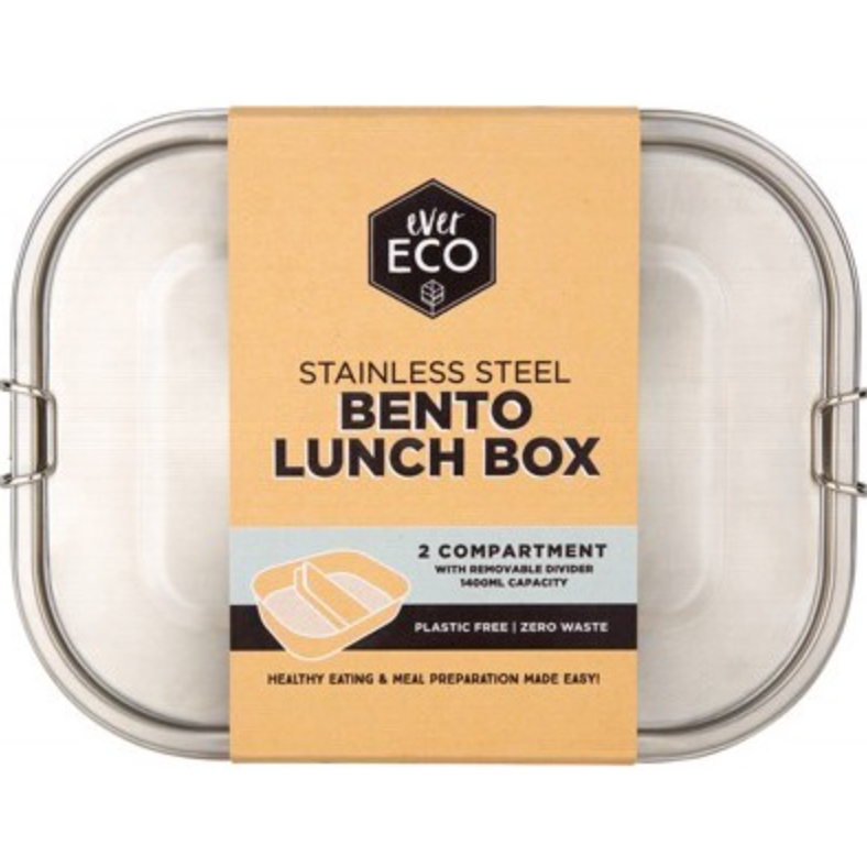Ever Eco Stainless Steel Bento Lunch Box - 2 Compartments with Removable Divider (1400ml)