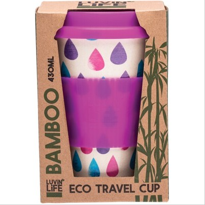 Luvin Life Bamboo Eco Travel Cup 430ml - Raindrops