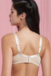 Black/Beige Plain Full-Cup Non-Padded Bra (2-Pack)
