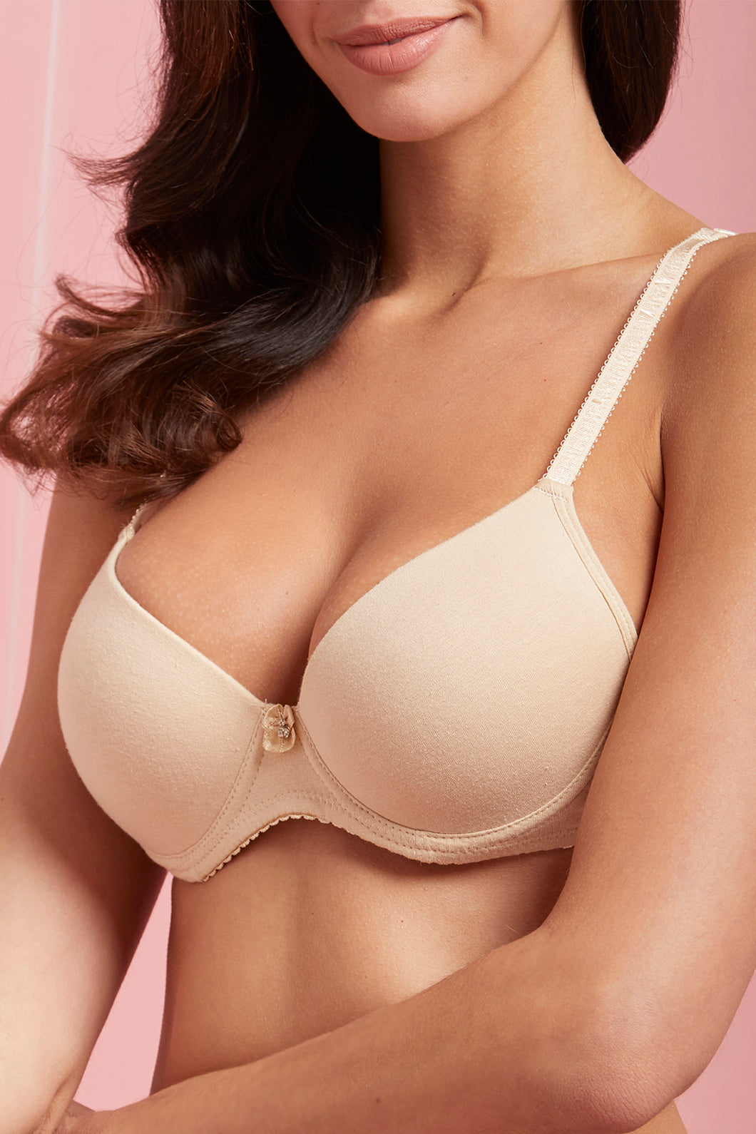 Beige/White Plain Padded T-Shirt Bra (2-Pack)