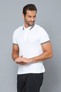 White Plain Pique Polo With Tipping