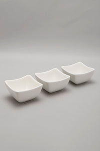 White Porcelain Square Bowl Set (3 Piece)