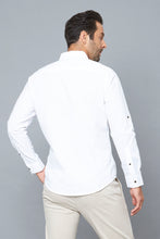 Load image into Gallery viewer, White Slim-Fit Long Sleeve Poplin Shirt