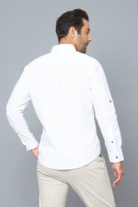 White Slim-Fit Long Sleeve Poplin Shirt