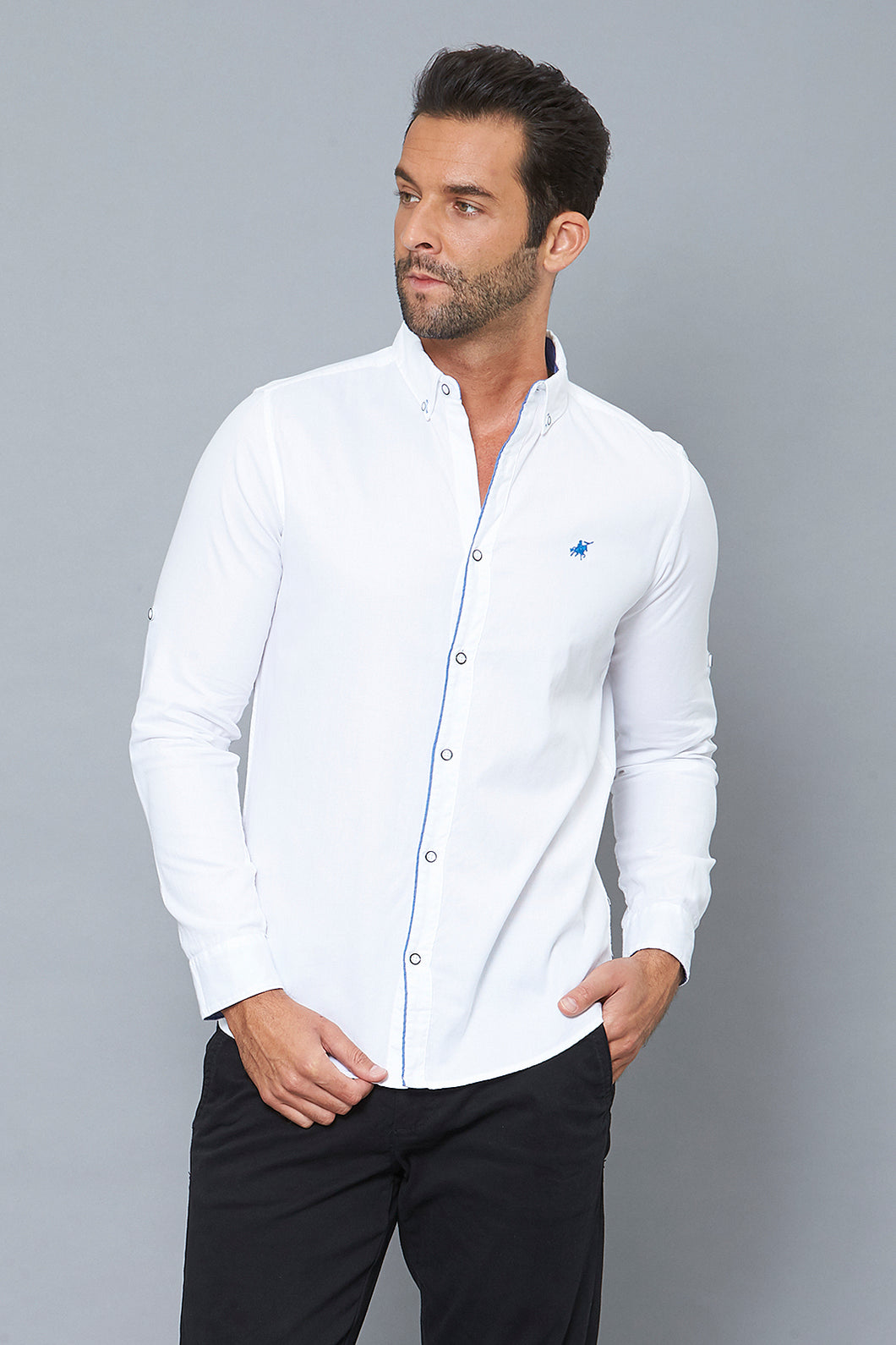 White Slim-Fit Long Sleeve Birdseye Shirt