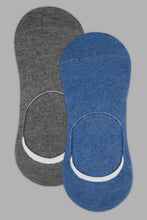 Load image into Gallery viewer, Grey/Blue Plain Invisible Socks (2-Pack)