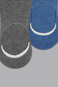 Grey/Blue Plain Invisible Socks (2-Pack)