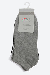 Black/White/Grey Plain Ankle Socks (3-Pack)