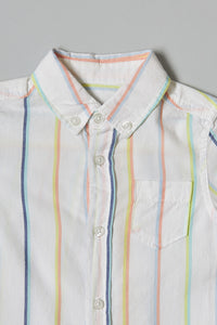 White Stripe Shirt With T-Shirt (2-Pack)